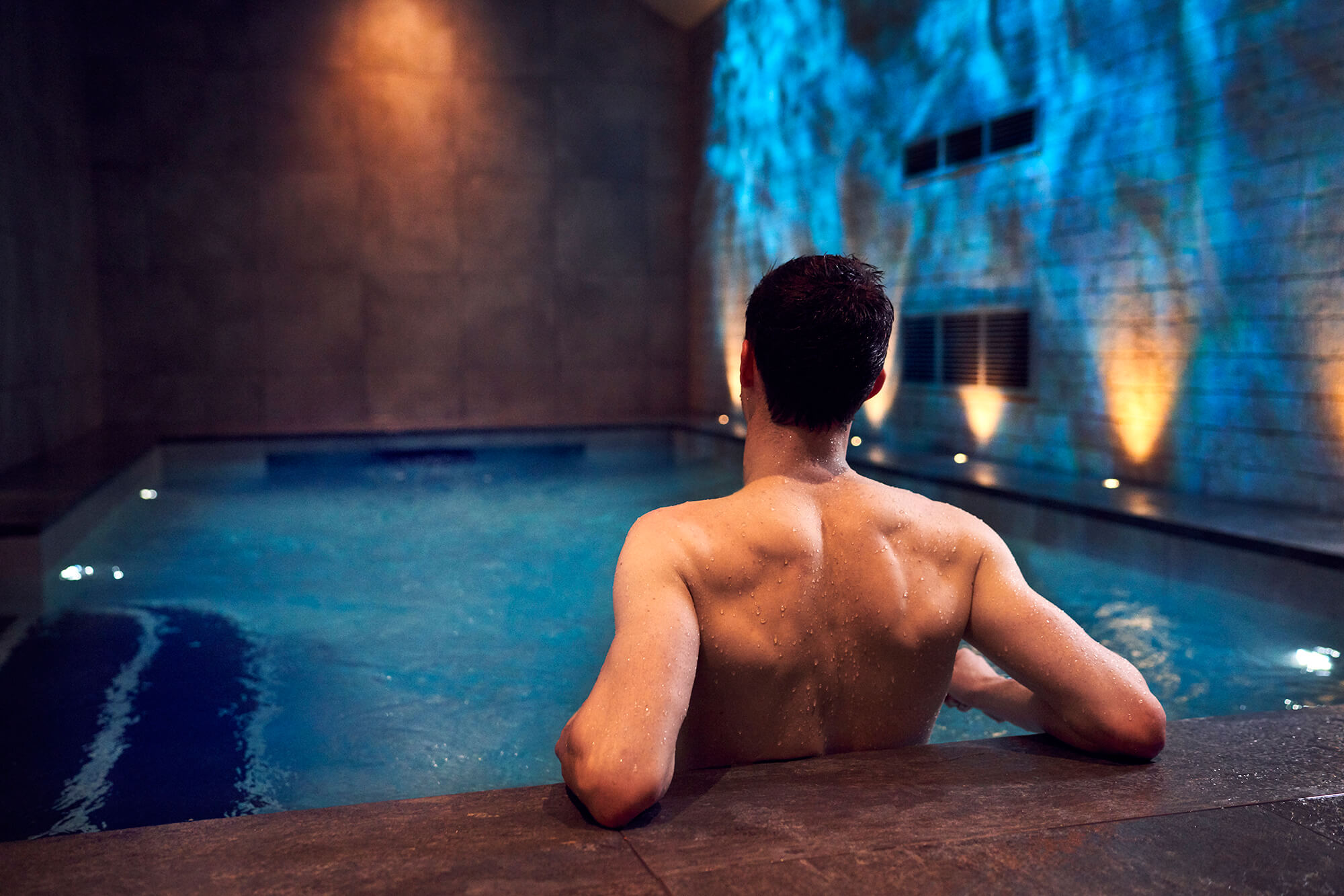 man in a spa at the retreat